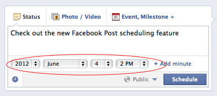 Facebook post scheduling interface