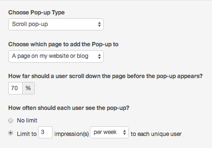 How to set up a scroll website popup