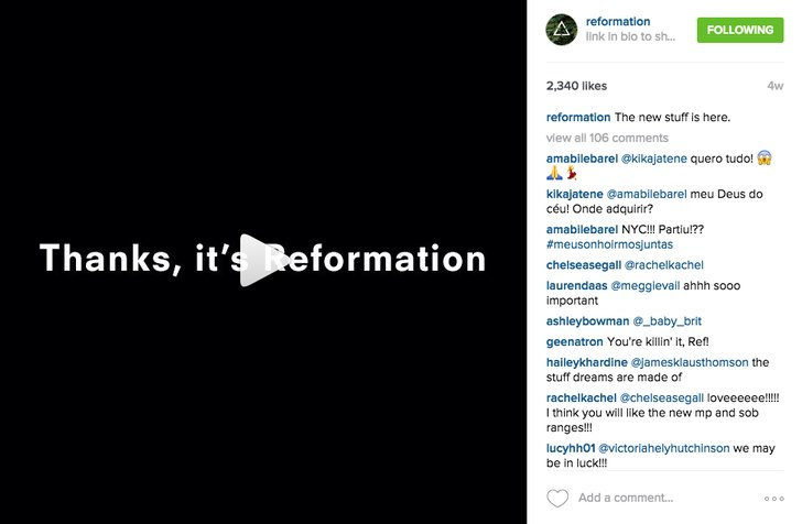 flipagram instagram reformation